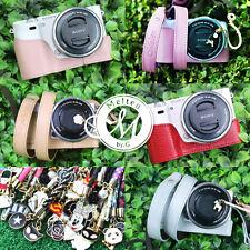 [Melten] Leather Camera Half Case+Neck Strap For Sony A6000+Lens cap holder
