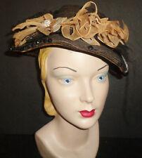 Antique Black Straw Ladies Hat to Restore