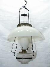 Early Country Store Hanging Lamp Dome Milk Glass Shade Parlor Light Electrified