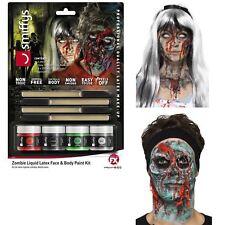 Halloween Zombie Liquid Latex SFX Makeup Kit Gore Prosthetics Face Body 4 Pots