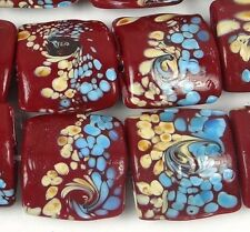 Lampwork Handmade Glass Red Turquoise Stormy Square Beads (5)
