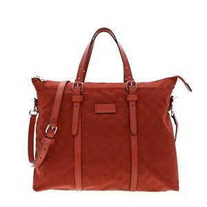 Gucci Nylon Tote Guccissima Shoulder Bag Red New