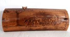 Curiosité calendrier perpetuel bambou pyrogravé art populaire Old calendar