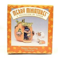 Rare 1996 New Happy Haunting Halloween Mice Merry Miniatures 2 Pc Ornament Set
