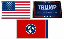 3x5 Trump #1 & Usa American & State of Tennessee Wholesale Set Flag 3'x5'