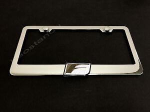 "1x ""F"" 3D Emblem STAINLESS STEEL License Plate Frame RUST FREE + Screw Cap(W)"