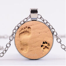 NEW Cabochon Silver/Bronze/Black Glass Necklace(Paw & Footprint in the Sand