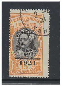 Oceanic Settlements - 1921, 25 on 15c (Surch) stamp - F/U - SG 45