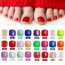 24pcs Fashion Acrylic Solid Color Artificial Art Tips Full Cover False Toe Nail
