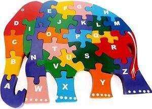 Wooden ABC Alphabet Jigsaw Elephant Puzzle Kids Toy Children Education toy
