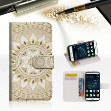 White AZTEC TRIBAL Wallet TPU Case Cover For Huawei P9 Lite-- A006