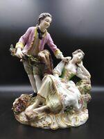 sculpture porcelaine  saxe groupe scène galante xixème marque couronne signé