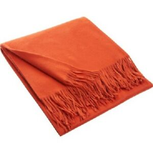 LUXURIOUS AMICALE NEW YORK 100% CASHMERE BLANKET THROW FRINGED - GORGEOUS COLOR