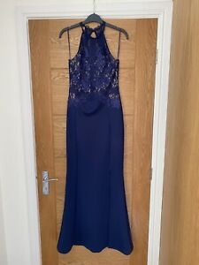 Lipsy Size 10 Blue Evening Gown, Full Length Worn Once