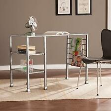 Holly And Martin HO0776 Metal U0026 Glass Writing Desk Distressed Silver