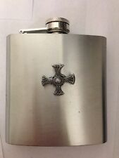 St. Cuthberts Cross R17 English Pewter 6oz Stainless Steel Hip Flask