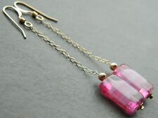 Vintage Pink Striped Cased Givre Glass Beads, 14K Rolled Gold Long Drop Earrings
