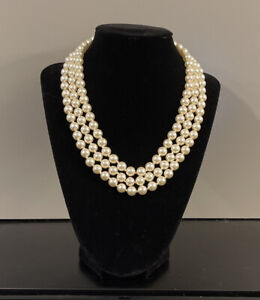 """Vintage Necklace Faux Pearl 3 Strand Gold Tone Clasp 15"""""""