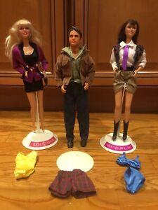 Vintage Mattel 1991 Beverly Hills 90210 Dolls Lot 3 & Outfits Stands Kelly Brend