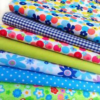 Fat Quarters Polycotton Fabric 7 Flowers & Spots Bundles Gingham Check Retro A13