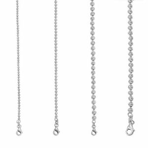 """10K White Gold Solid 2mm-4mm Moon Diamond Cut Ball Bead Chain Necklace 16""""- 30"""""""