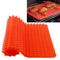 Barbecue Pan Non Stick Fat Reducing Silicone Cooking Mat Oven Baking Tray xxll
