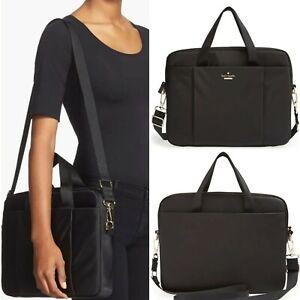 Kate Spade New York Black Classic Nylon Commuter Crossbody Padded Laptop Bag LN