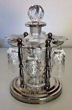 More details for crystal sherry decanter & six glasses on vintage chrome stand
