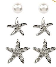 Crystal Starfish White Pearl 3 Piece set Stud Earrings