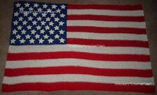 Boutique CROCHETED AMERICAN FLAG BLANKET afghan patriotic red white blue