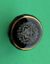 """1"""" Dia. Black Antique Drawer Pull Glass Porcelain Cabinet Knob French Empire"""
