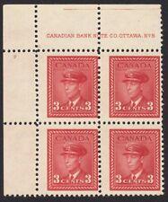 WAR ISSUE = KING GEORGE VI = Canada 1942 #251 MNH UL Block Plate #5