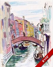 CANAL IN VENICE ITALY PAINTING BY AMERICAN O.F. BLUEMNER ART REAL CANVAS PRINT