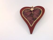 Rustic Red Wood With Key Rope Plaid Heart Valentines Day Sign Decoration Gift