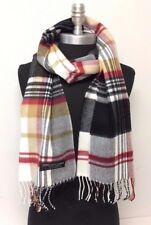 New 100% CASHMERE SCARF SCOTLAND PLAID Black White Camel Red SOFT Wool Wrap