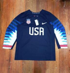 Men's Nike USA Olympic Hockey Team 2018 Replica Jersey Navy sz LARGE