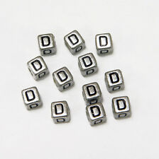 "6mm Silver Metallic Alphabet Beads Black Letter ""D"" 100pc"