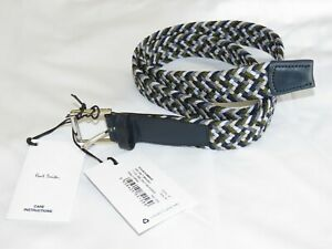 Paul Smith Multicolour Braided Belt Size 34 Leather & Nylon BNWT Made in Spain