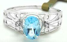 Genuine BLUE TOPAZ & DIAMONDS Filigree 10k White Gold Ring