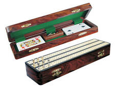 "Regalia Cribbage Board / Box in Ebony / Brass 12"" - 3 Tracks"