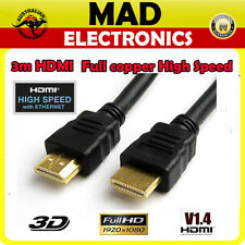 3M HDMI Cable v1.4 3D High Speed with Ethernet Full HD 1080p Gold Plated XBOX