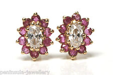 9ct Gold Ruby Cluster stud earrings Gift Boxed Studs Made in UK