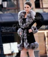 100% Echte Damen Leder Mantel Fuchs Pelz Schnitt Lang Jacke Outwear Bekleidung