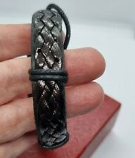New listing New Leather Bracelets chunky black tone braided / Ajustable style