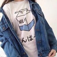 Lady Kawaii Milk Box Pattern T-shirt Short Sleeve Baggy Blouse Top Tee Shirt New