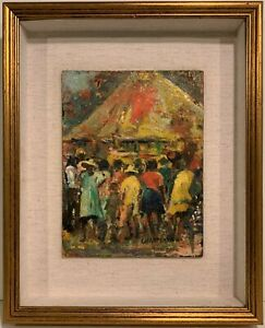 PAULE CHARPENTIER 20th c. Martinique CARIBBEAN ISLAND PAINTING Town Gathering