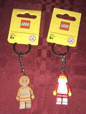 LEGO Christmas Santa Claus & Gingerbread Keychains New 850150 851394