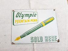 1940 Vintage Olympic 14 Kt. Gold Plated Fountain Pen Porcelain Enamel Sign Board