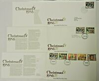 3x GB FDC & Insert 1986 Christmas Full Set Philatelic Bureau Edinburgh Harrow