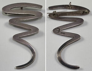Taxco EPB Signed Sterling Silver 925 Mexico Modernist Squiggle Pin Pendant VTG